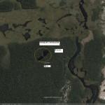 Imagem aérea vegetação e lagoas