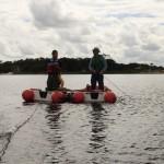 Barcos ancorados para inicio amostragem sedimento
