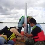 Início amostragem sedimento (coluna de água de 4 metros)